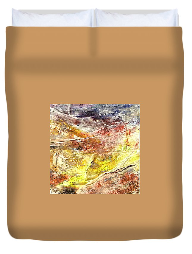 Yellow Field Duvet Cover featuring the painting Yellow Field by Dragica Micki Fortuna