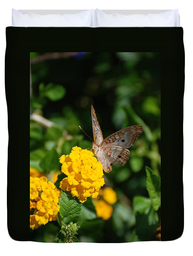 Butterfly Duvet Cover featuring the photograph Yellow Flower Brown Fly by Rob Hans