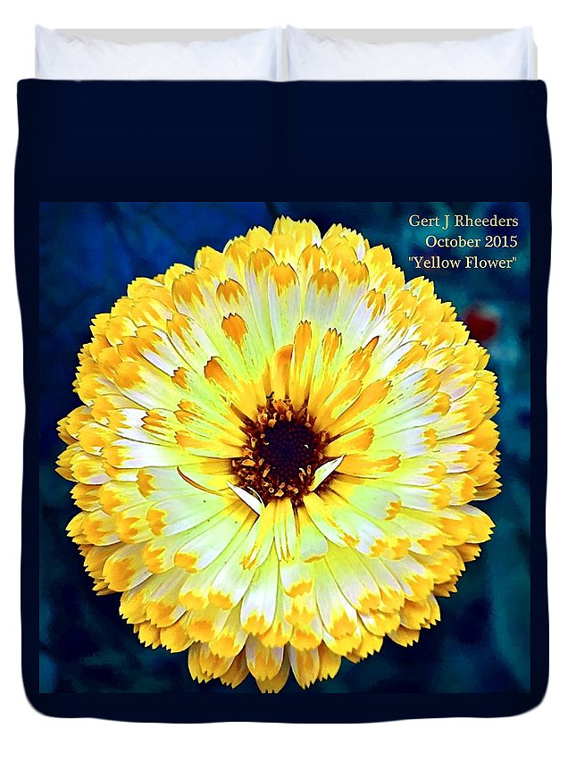 Flower Bouquets Duvet Cover featuring the painting Yellow Flower H A by Gert J Rheeders