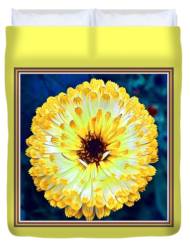 Flower Bouquets Duvet Cover featuring the painting Yellow Flower H B With Decorative Ornate Printed Frame by Gert J Rheeders
