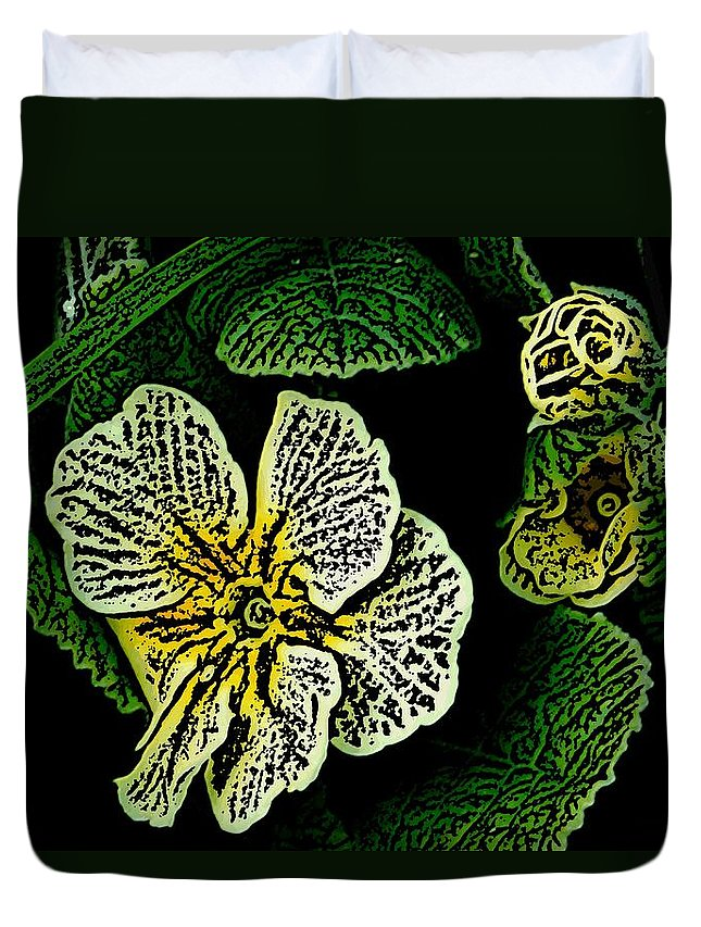 Floral Duvet Cover featuring the digital art Yellow Flower Woodcut by David Lane