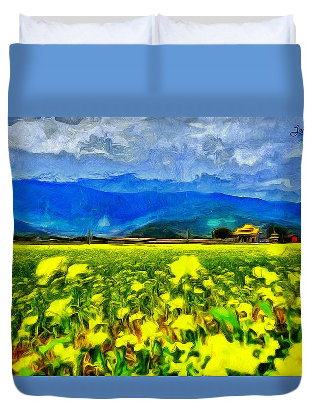 Yellow Flowers Duvet Cover featuring the painting Yellow Flowers by Leonardo Digenio