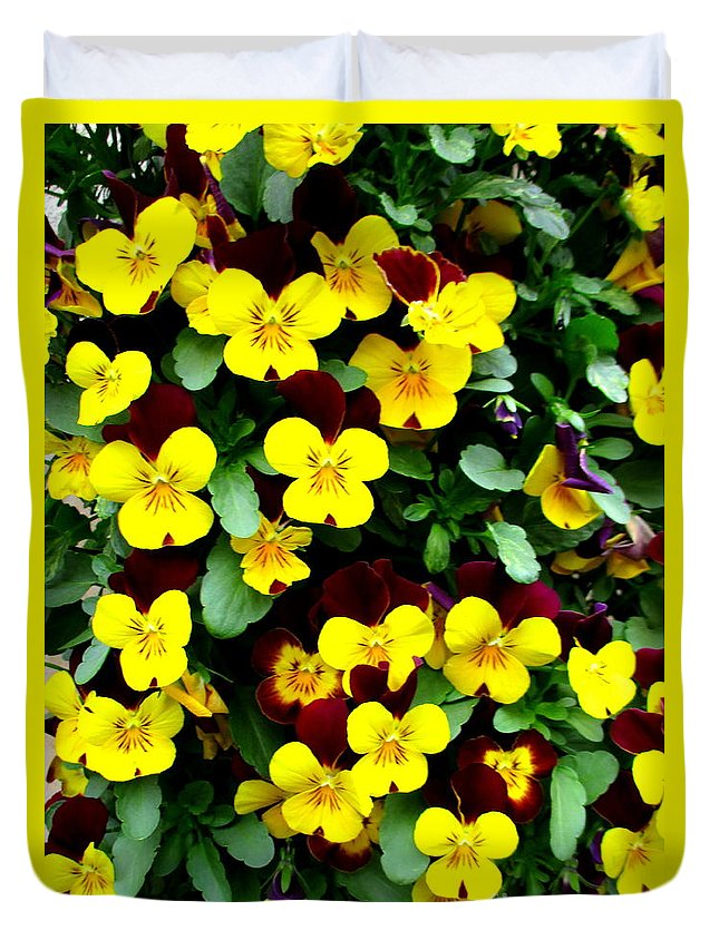 Yellow Duvet Cover featuring the photograph Yellow Flowers by Randall Weidner