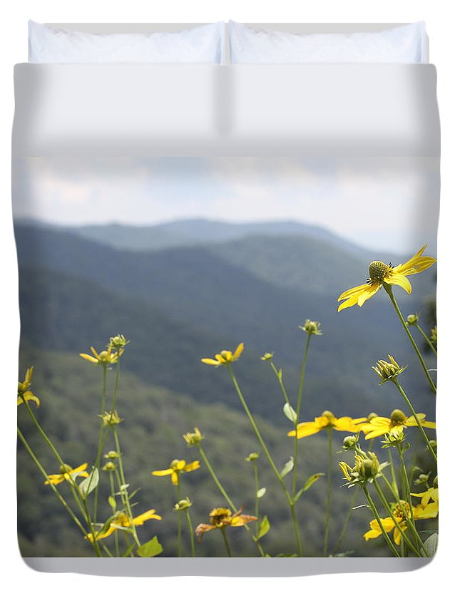 Yellow Duvet Cover featuring the photograph Yellow Flowers by Tina Foote