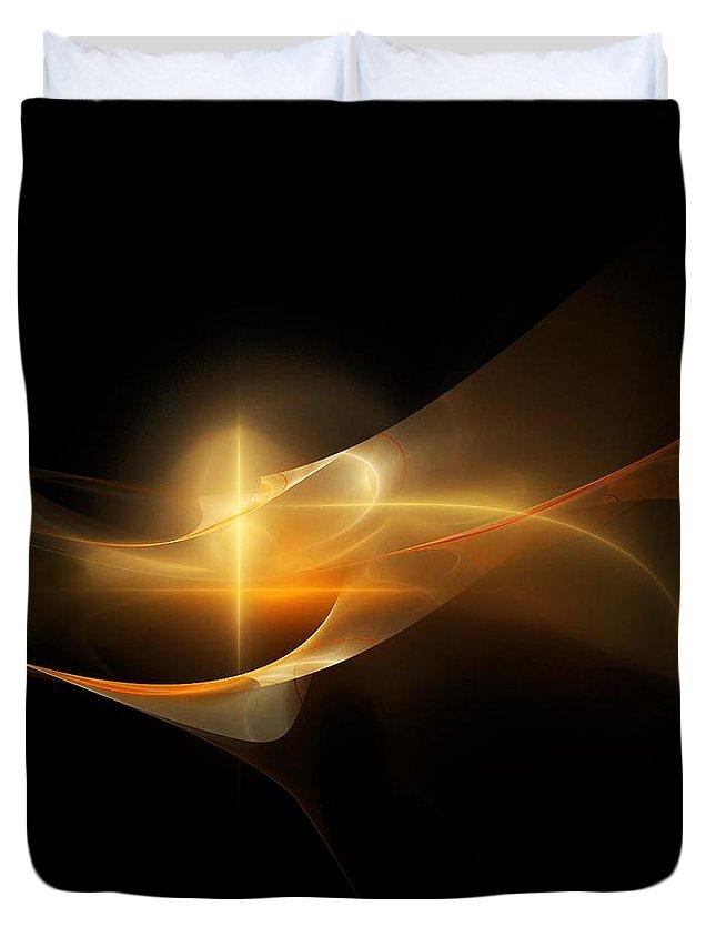 Fine Art Duvet Cover featuring the digital art Yellow Fractel by David Lane