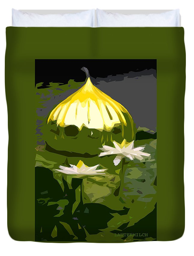 Water Lilies Duvet Cover featuring the photograph Yellow Glass With White Lilies by John Lautermilch