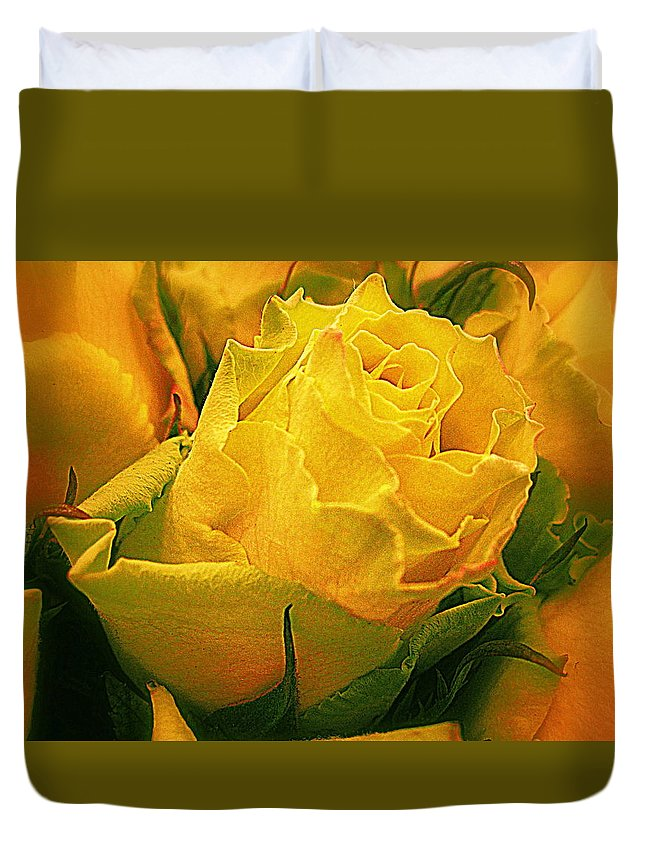 Flowers Duvet Cover featuring the photograph Yellow Green Rose by Bonita Brandt