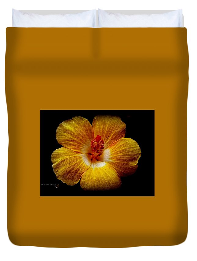 Flower Duvet Cover featuring the photograph Yellow Hi by Kathy Barney
