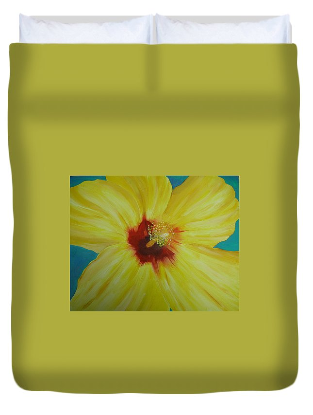 Flower Duvet Cover featuring the print Yellow Hibiscus by Melinda Etzold