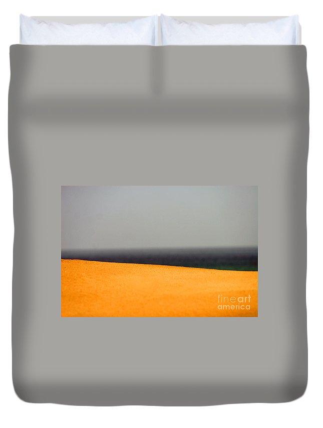 Yellow Duvet Cover featuring the photograph Yellow Horizon by Hana Shalom
