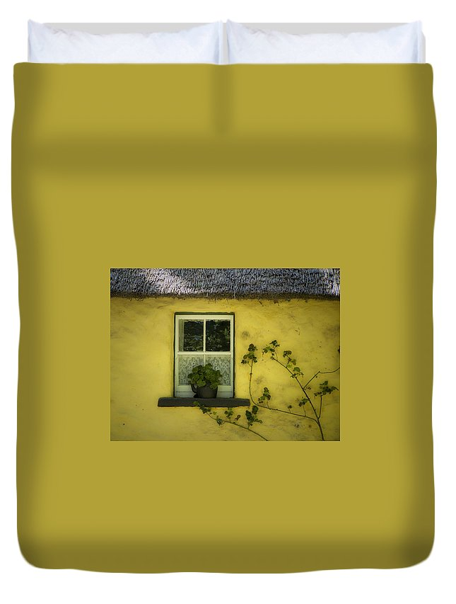 Irish Duvet Cover featuring the photograph Yellow House County Clare Ireland by Teresa Mucha
