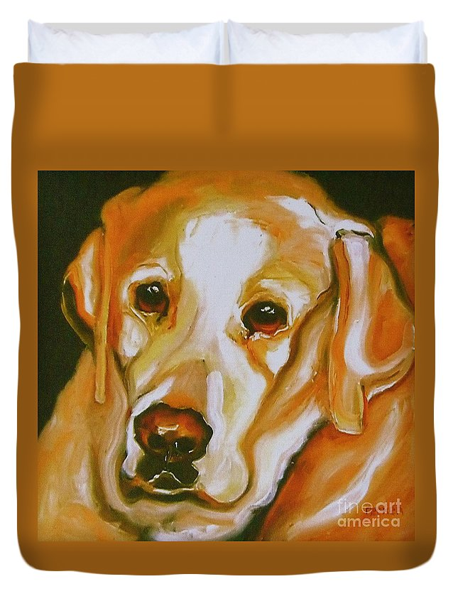 Oil Duvet Cover featuring the painting Yellow Lab Amazing Grace by Susan A Becker