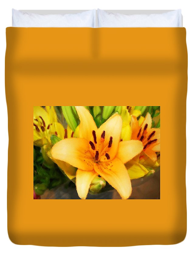 Sunflowers Duvet Cover featuring the painting Yellow Lily by Michael Thomas