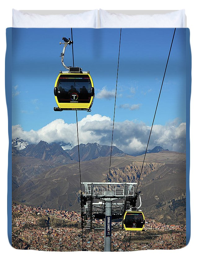 La Paz Duvet Cover featuring the photograph Yellow Line Cable Cars And Andes Mountains Bolivia by James Brunker