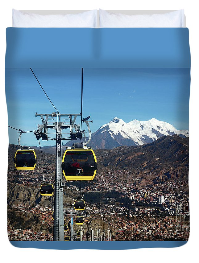 Bolivia Duvet Cover featuring the photograph Yellow Line Cable Cars And Mt Illimani La Paz Bolivia by James Brunker