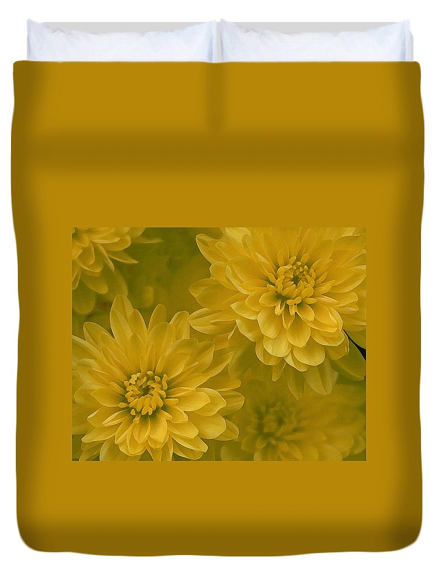Yellow Mum Art Duvet Cover featuring the photograph Yellow Mums by Linda Sannuti