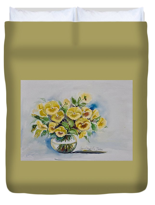Flowers Duvet Cover featuring the painting Yellow Pansies by Ingrid Dohm