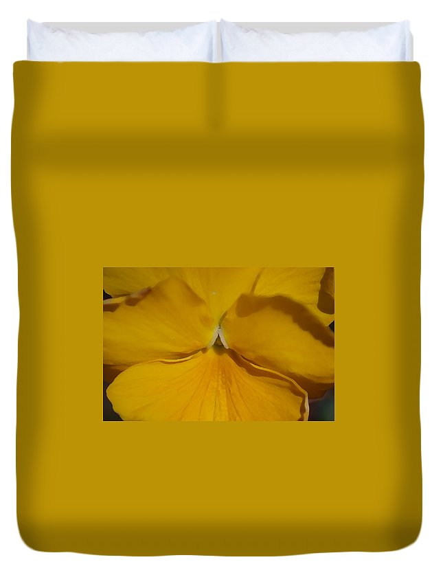Yellow Duvet Cover featuring the photograph Yellow Pansy by Donna Bentley