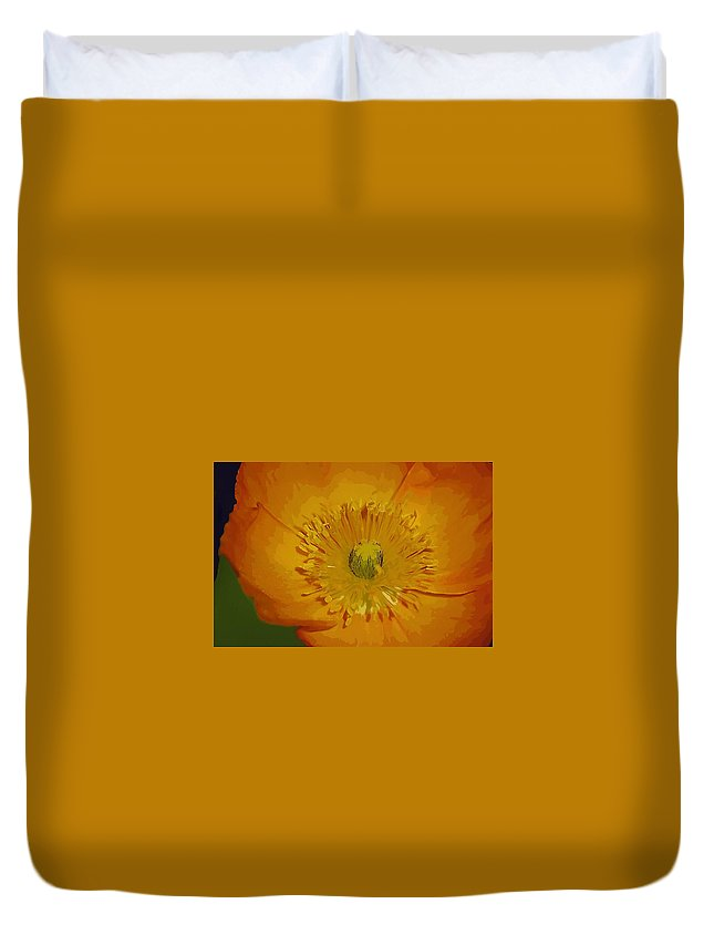 Poppy Duvet Cover featuring the photograph Yellow Poppy by Donna Bentley