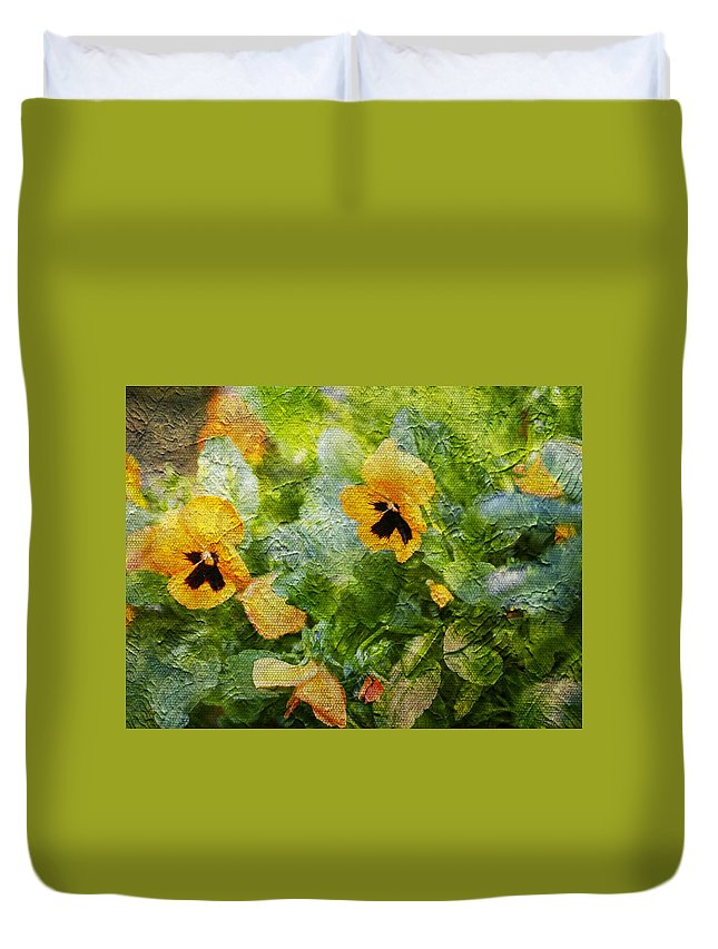 Yellow Duvet Cover featuring the photograph Yellow Pretty Little Flowers by Zahra Majid