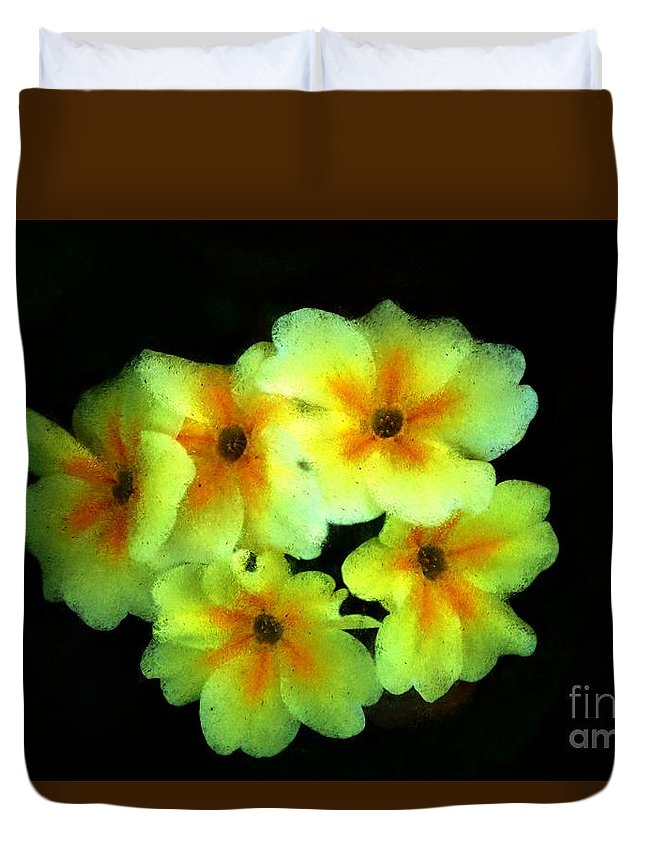 Digital Photo Duvet Cover featuring the photograph Yellow Primrose 5-25-09 by David Lane