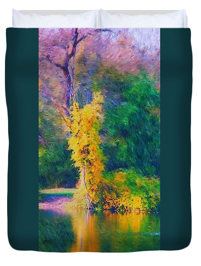 Digital Landscape Duvet Cover featuring the digital art Yellow Reflections by David Lane