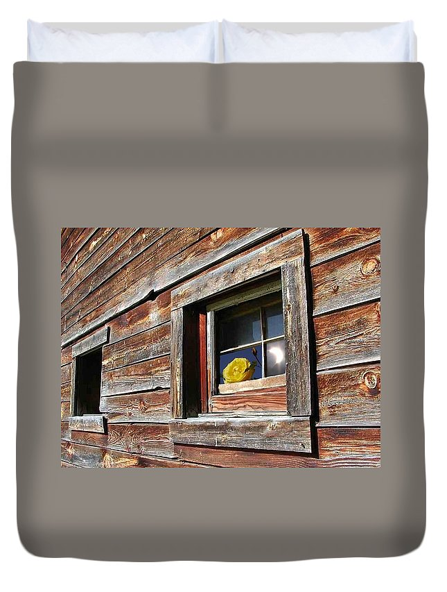 Barn Duvet Cover featuring the digital art Yellow Rose Eclipse by Tim Allen