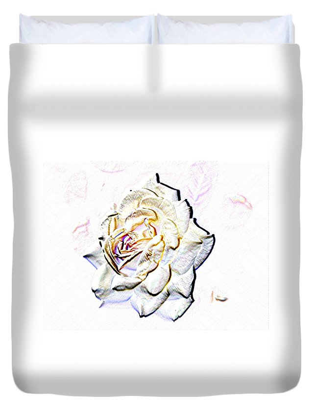 Rose Duvet Cover featuring the digital art Yellow Rose by Tim Allen