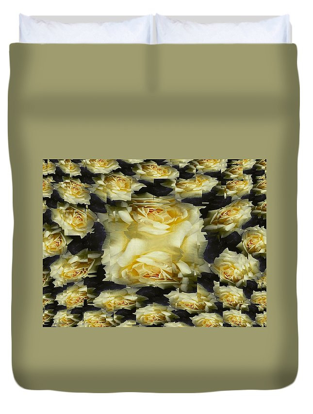 Rose Duvet Cover featuring the photograph Yellow Roses 2 by Tim Allen
