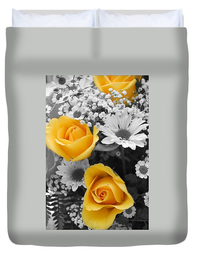 Rose Duvet Cover featuring the photograph Yellow Roses by Amy Fose