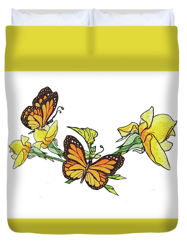 Yellow Roses Duvet Cover featuring the painting Yellow Roses And Monarch Butterflies by Irina Sztukowski