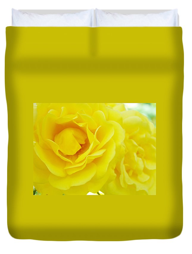 Rose Duvet Cover featuring the photograph Yellow Roses Art Prints Botanical Giclee Prints Baslee Troutman by Baslee Troutman