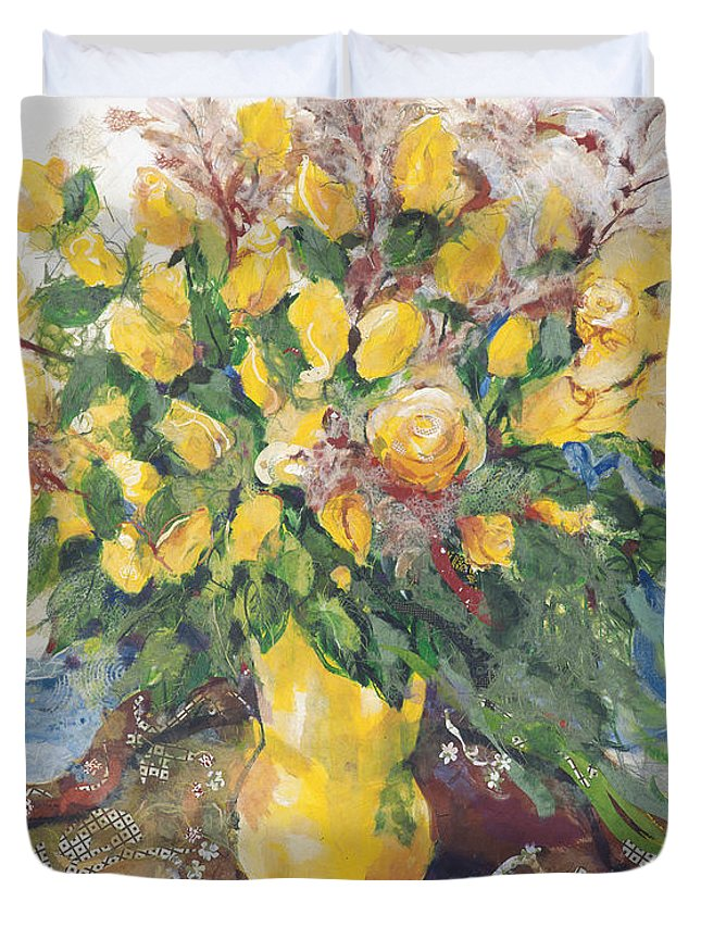 Floral Art Duvet Cover featuring the painting Yellow Roses by Nira Schwartz