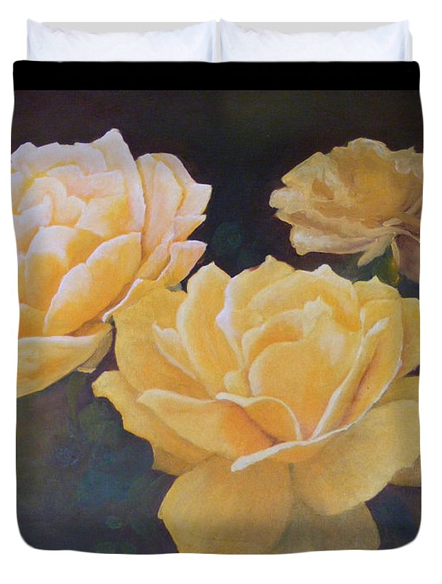 Roses Duvet Cover featuring the painting Yellow Roses by Steve Patton