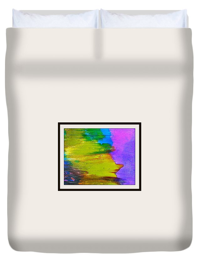 Cosmos Duvet Cover featuring the painting Yellow Sidewind by LaShonda Davis