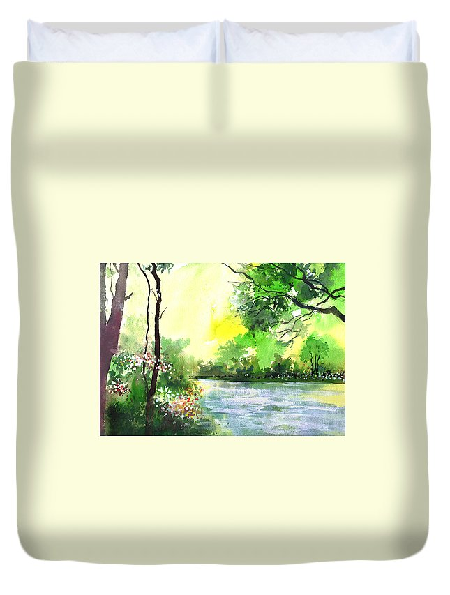 Sky Duvet Cover featuring the painting Yellow Sky by Anil Nene