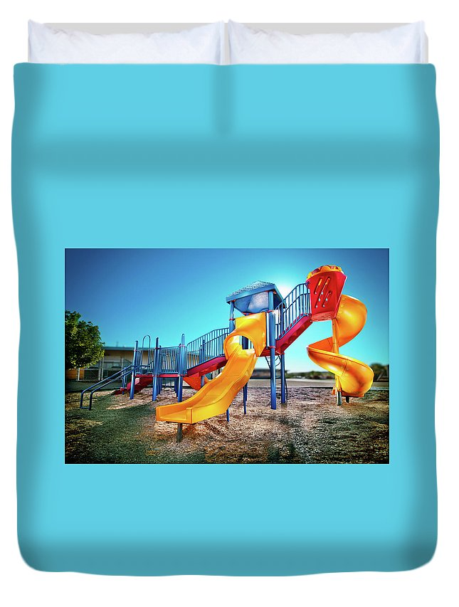 Paint Duvet Cover featuring the photograph Yellow Slide by Yo Pedro