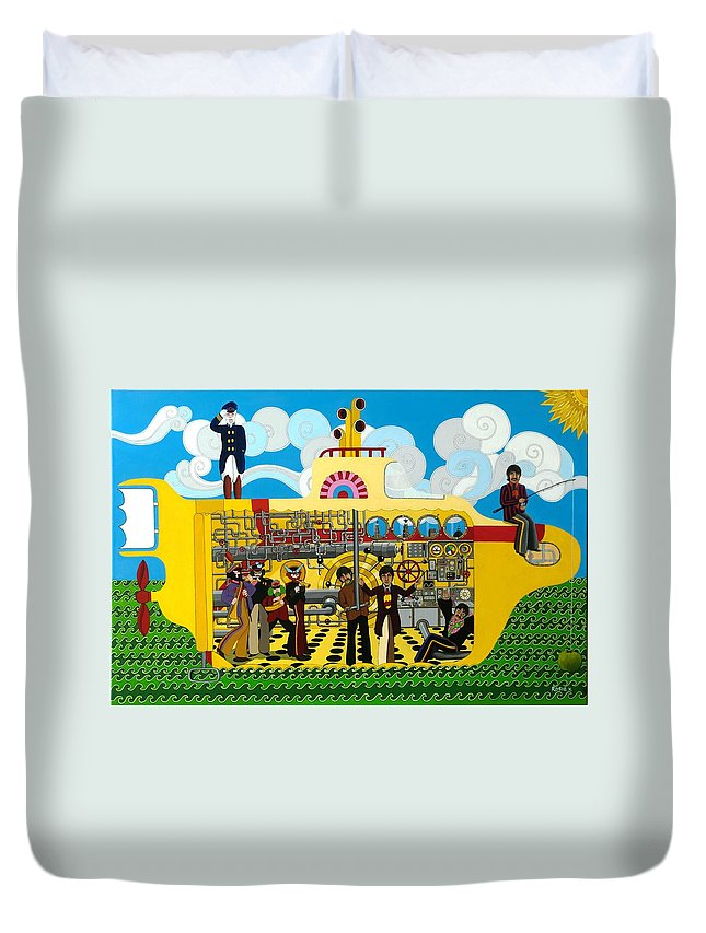 Yellow Submarine Duvet Cover featuring the painting Yellow Submarine by Rosie Harper