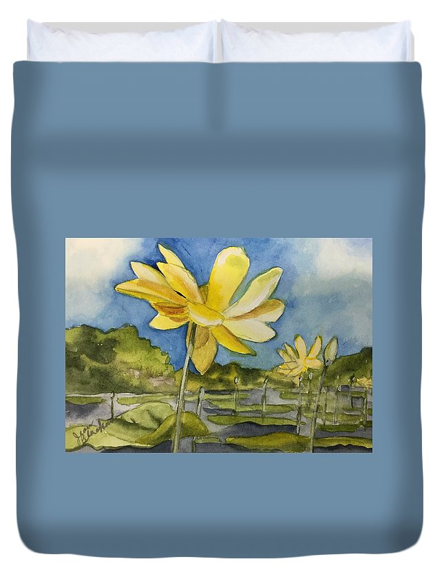 Lotus Duvet Cover featuring the painting Yellow Sunshine by Jean Blackmer