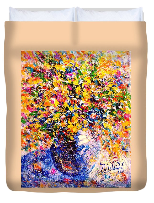 Flowers Duvet Cover featuring the painting Yellow Sunshine by Natalie Holland