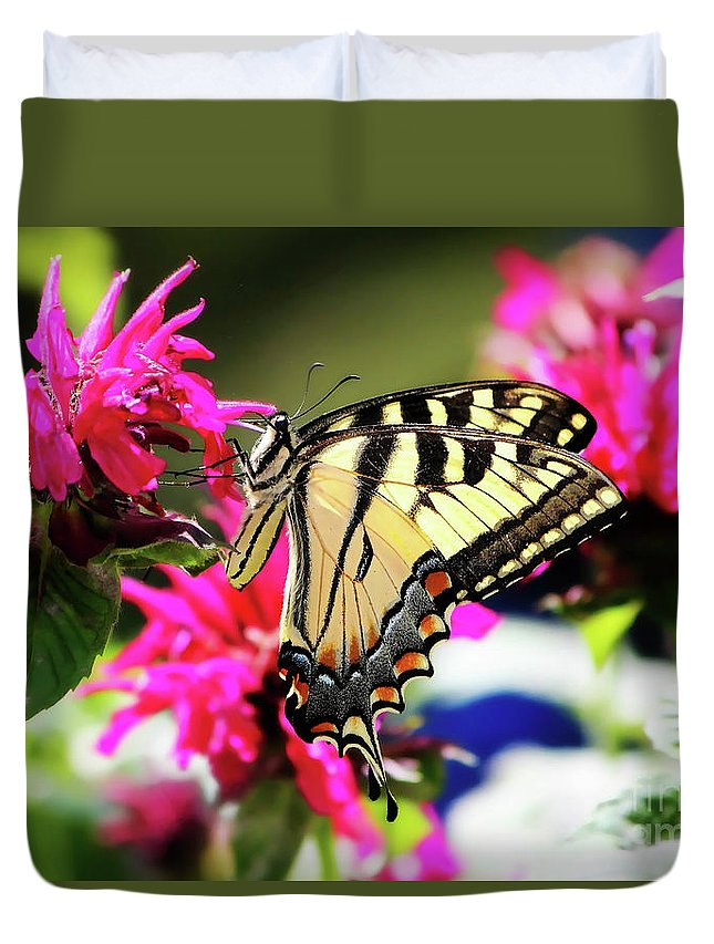 Butterfly Duvet Cover featuring the photograph Yellow Swallowtail   by Tina LeCour