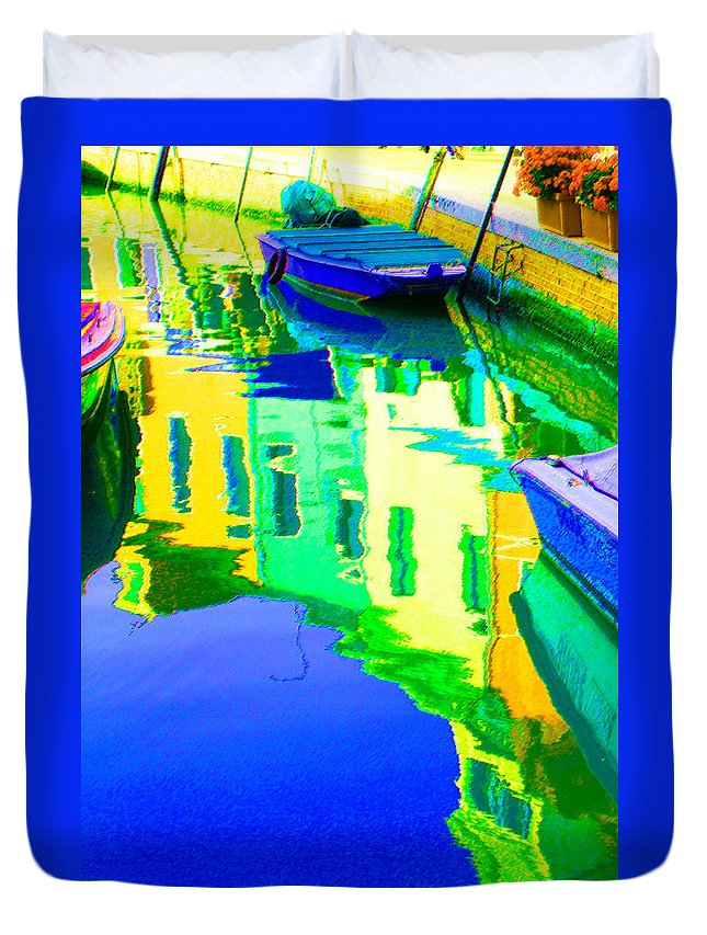 Yellow Duvet Cover featuring the digital art Yellow Toned Reflections by Donna Corless
