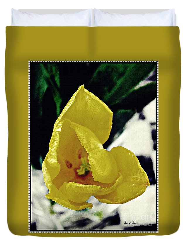 Tulip Duvet Cover featuring the photograph Yellow Tulip Floating In Air by Sarah Loft