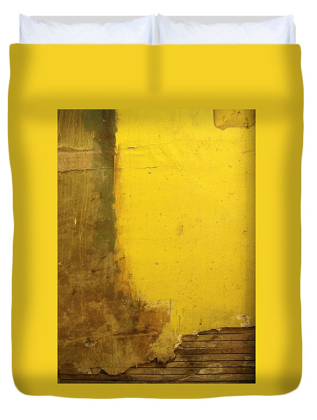 Yellow Duvet Cover featuring the photograph Yellow Wall by Tim Nyberg