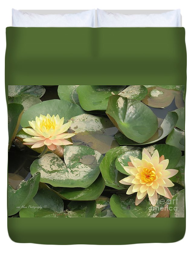 Flowers Duvet Cover featuring the photograph Yellow Water Lillies by Mikhael van Aken
