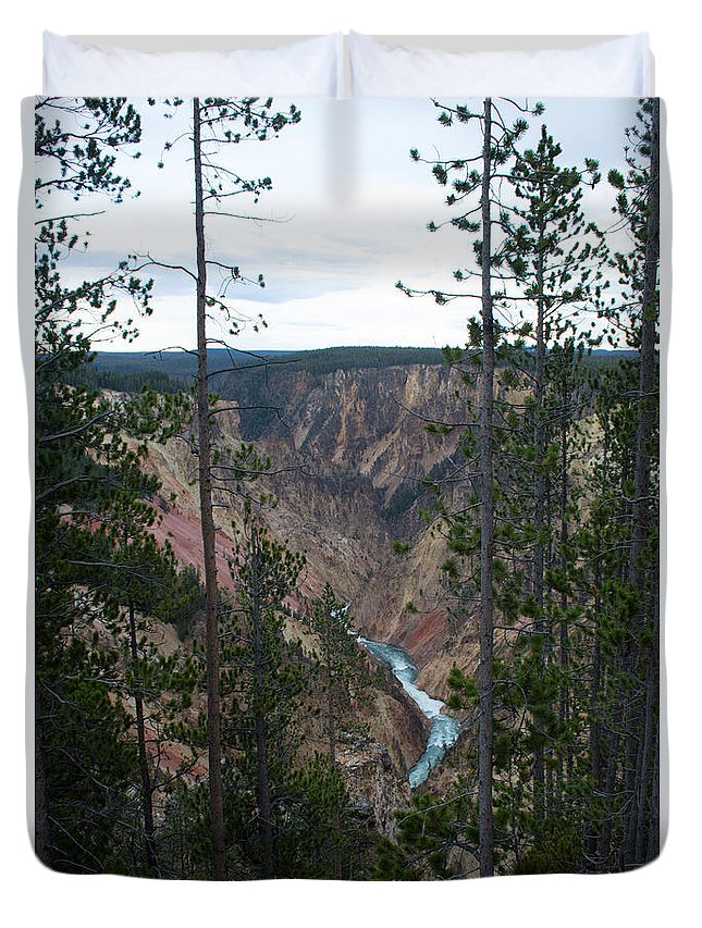 Grand Canyon Duvet Cover featuring the photograph Yellowstone Grand Canyon by Linda Kerkau