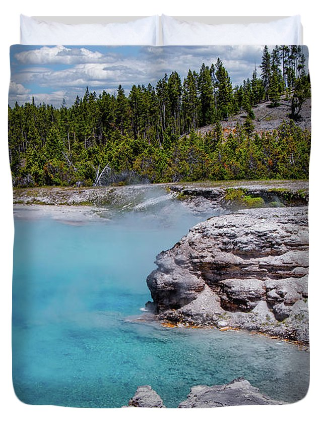 Yellowstone Duvet Cover featuring the photograph Yellowstone Grand Prismatic Spring by Patrick Garrett
