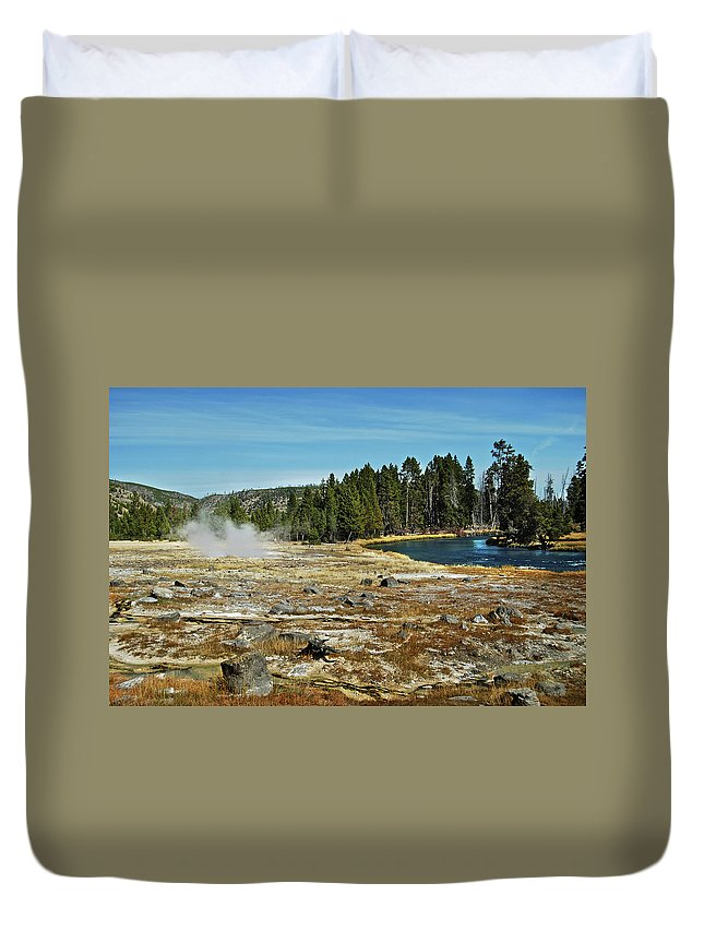 Yellowstone Duvet Cover featuring the photograph Yellowstone Hot Springs by Michael Peychich