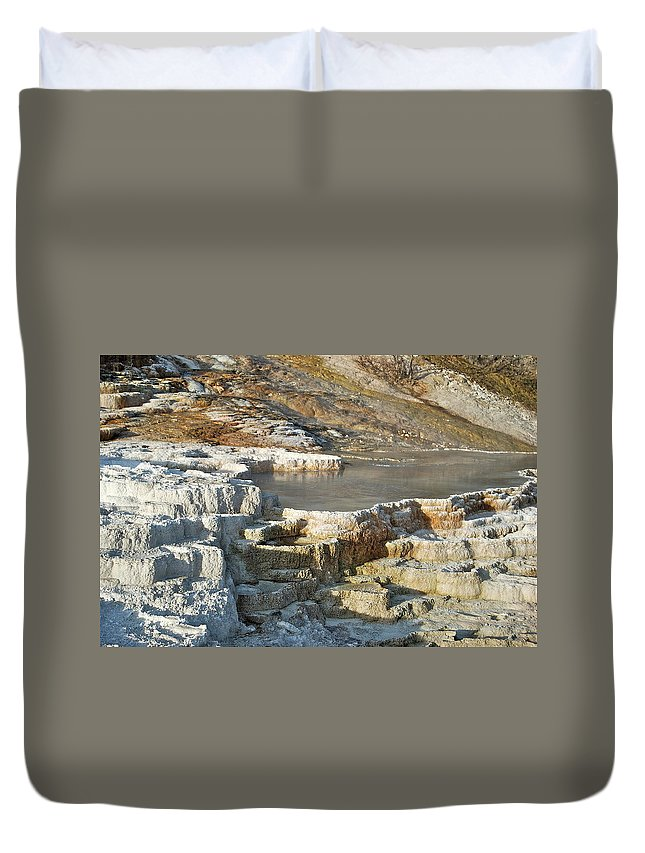 Landscape Duvet Cover featuring the photograph Yellowstone Mineral Features 3 by Michael Peychich