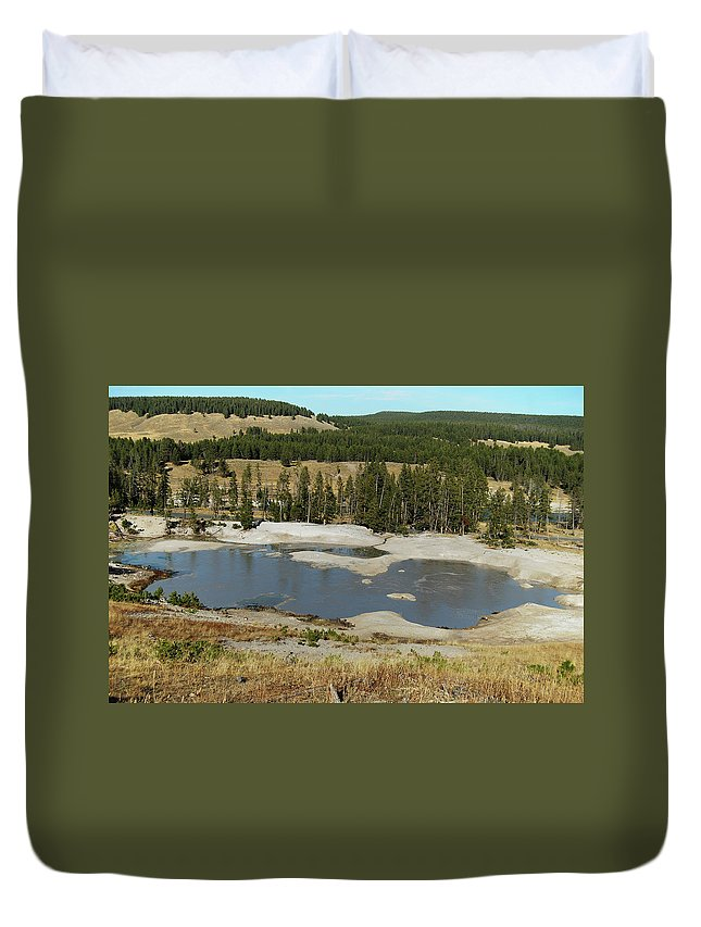 Yellowstone Duvet Cover featuring the photograph Yellowstone Mineral Ponds by Michael Peychich